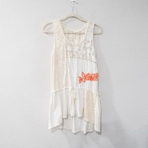 Rio Rao Anthropologie Ivory Lace Trim Blouse